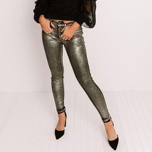 🆕 Willow Gold Metallic Foil Coated Jeans